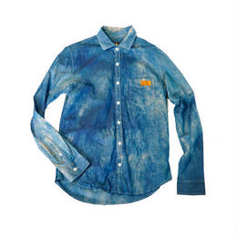 Broadcloth shirt  (size M)   mottled indigo
