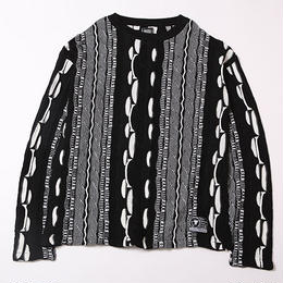 MIMICRY -Knit Sweater- / BLACK-WHITE