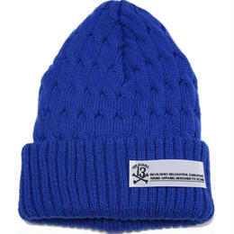 CABLE KNIT CAP/BLUE