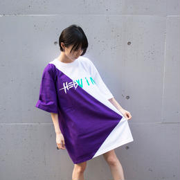 Cross Cut Missing T-Shirt STREET ARTS LIMITED / PURPLE-WHITE