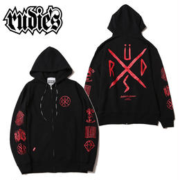 CONFUSE ZIPHOOD SWEAT / BLACK-RED