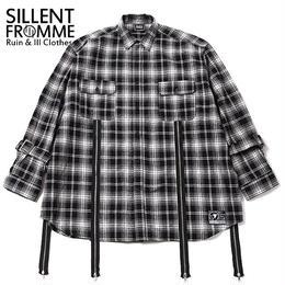 MALCOLM -Zip Wide Shirts- / BLACK-CHECK