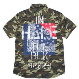 BANDANA SHIRT S/S -Inhale the black- / CAMO