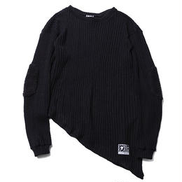 "SILLENT ニットセーター ""GHOST -Asymmetry Knit Sweater-"" / BLACK"