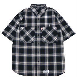 S-BONE CHECK S/S SHIRTS / BLACK