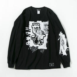 Bad Owl Long Sleeve T-shirt / BLACK