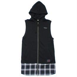SWITCHING NOSLEEVE LONG PARKA -Resolve-/BLACK x CHECK