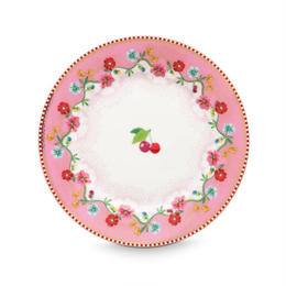 Floral Plate Cherry  Pink