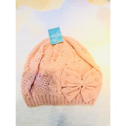 キッズニット帽 ピンク&リボン