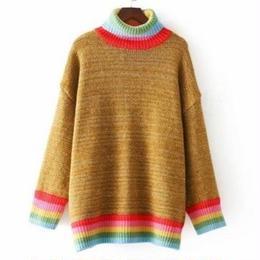 SALE カラフルハイネック ニットチュニック セーター