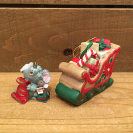 Christmas Mouse & Sled Ornament/クリスマスマウスとソリ オーナメント/180208-6