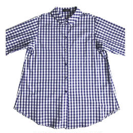 Cotton broad  blouse /  gingham(blue&white)NEW