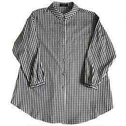 Cotton broad  blouse /  gingham(black&white)