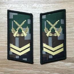 【四級軍士長】中国人民解放軍07式迷彩服用 林地迷彩柄 襟章 階級章