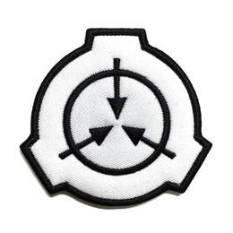 【直径8cm】SCP財団 シンボル白 刺繍ベルクロワッペン マジックテープ 識別章