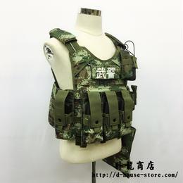 中国人民武装警察 07式夏迷彩 戦術背心 クイックリリースワイヤー付き プレートキャリアセット