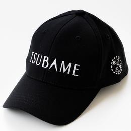九州新幹線800系つばめ-TSUBAMEロゴ(白)黒キャップ 【TE024】