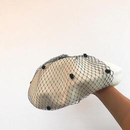 ベール付きベレー帽