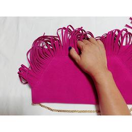 ピンクフリンジハンドバッグ