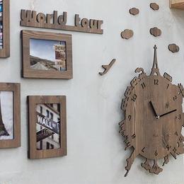 【ハンドメイド】ウォールクロック - WORLD TOUR  ブラウン