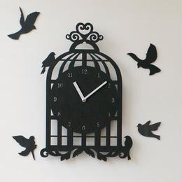 【ハンドメイド】ウォールクロック - BIRD HOUSE ブラック