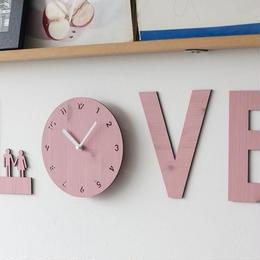 【ハンドメイド】ウォールクロック - LOVE IS ピンク