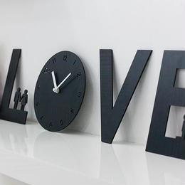 【ハンドメイド】ウォールクロック - LOVE IS ブラック