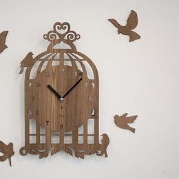 【ハンドメイド】ウォールクロック - BIRD HOUSE ライトブラウン