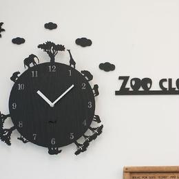 【ハンドメイド】ウォールクロック - ZOO ブラック