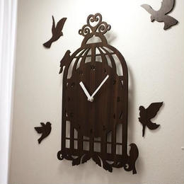 【ハンドメイド】ウォールクロック - BIRD HOUSE ダークブラウン