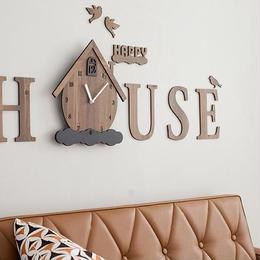 【ハンドメイド】ウォールクロック - HAPPY HOUSE ブラウン