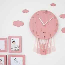 【ハンドメイド】ウォールクロック - SKY BALLOON ピンク