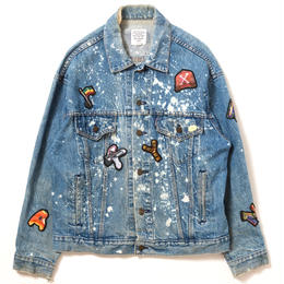 "APPLEBUM ""PLAY for APPLEBUM ""CRASH"" Alphabet Damage Denim Jacket"""