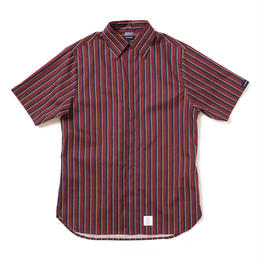Stripe Fly Front SS Shirt [Burgundy]
