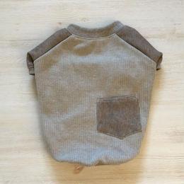 ヒッコリーデニムのラグランTシャツ//ブラウン       [フレブル服TiTiTi]