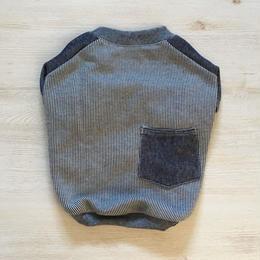 ヒッコリーデニムのラグランTシャツ//ネイビー       [フレブル服TiTiTi]