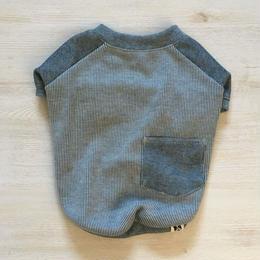 ヒッコリーデニムのラグランTシャツ//ブルー       [フレブル服TiTiTi]