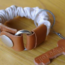 key bracelet ピンク×ブラウン×シルバー