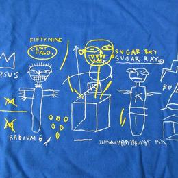00's ジャン=ミシェル・バスキア FOTOFOLIO Sugar Ray TシャツXL ブルー Jean-Michel Basquiat ビッグシルエットRobinson芸術【deg】