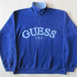 90's GUESS USA フリース ハーフジップ スウェット
