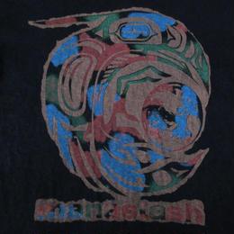 MANASTASH 鳥 地球 ロゴ ヘンプ コットン Tシャツ M ブラック 黒 マナスタッシュ HEMPネイティブ 民族 ヒッピー