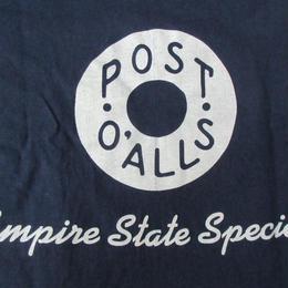 90's USA製 初期 POST O'ALLS ポケット付き Tシャツ S ネイビー ポストオーバーオールズ 半袖 カットソー Hanes WORK
