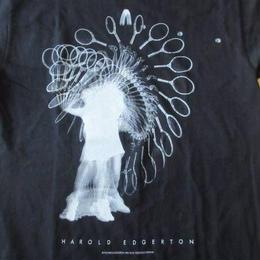 90's ハロルド エジャートン FOTOFOLIO TENNIS フォト Tシャツ S ブラック Harold Edgerton テニス マサチューセッツ工科大学MIT芸術【deg】