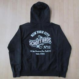 Schott HOODIE ZIP SWEAT No.13 刺繍 フルジップ パーカー M黒 ブラック ショット フード スウェット トレーナーNEW YORK CITY BROS【deg】