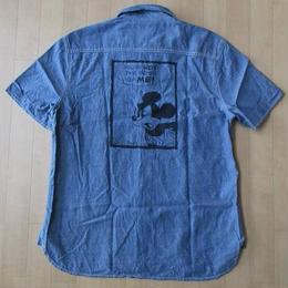 EDWIN Disney コラボ ミッキーマウス 猫目ボタン マチ付き 半袖 シャンブレーシャツ S エドウイン ディズニーMickey MouseワークWORK【deg】