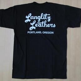 USA製 LANGLITZ LEATHERS バック 左胸 ロゴ Tシャツ L 黒 ブラック ラングリッツレザー 半袖 カットソー ハーレーダビッドソン バイク 【deg】