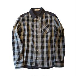 TSB ブロックチェック切り替えストレッチシャツ