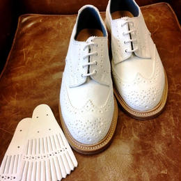 17.19 Rejected Tricker's / White Suede / Full Brogue Shoes with Kilt / Leather Sole / Size 8