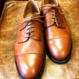 17.63 Rejected Tricker's / Light Brown / Cap Toe Derby Shoes / Dainite W Sole / Size 8 half