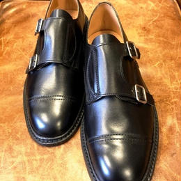 17.45 Rejected Tricker's / Black Unlined / Double Monk Shoes / Leather Sole/Size6